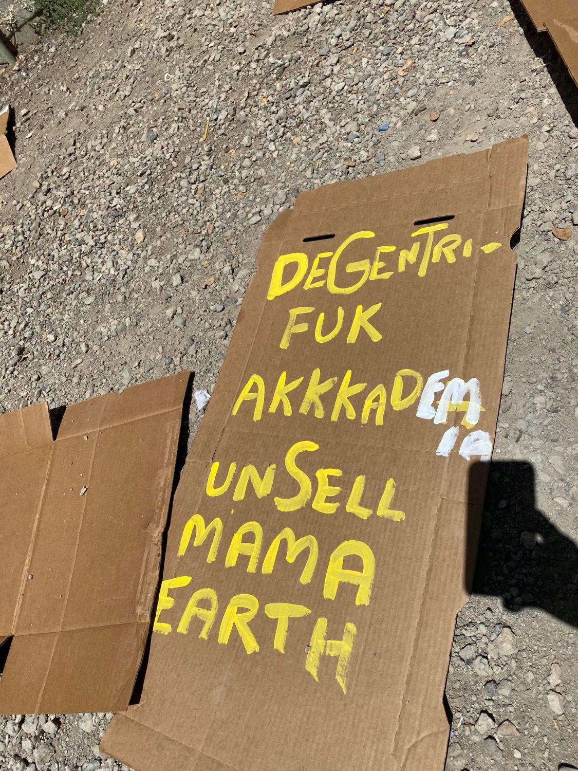 DegentriFUK-Akkkademia-UnSell-Mama-Earth-sign, From poverty tows to Palestine: The violence of settler colonial evictions across Mama Earth, World News & Views