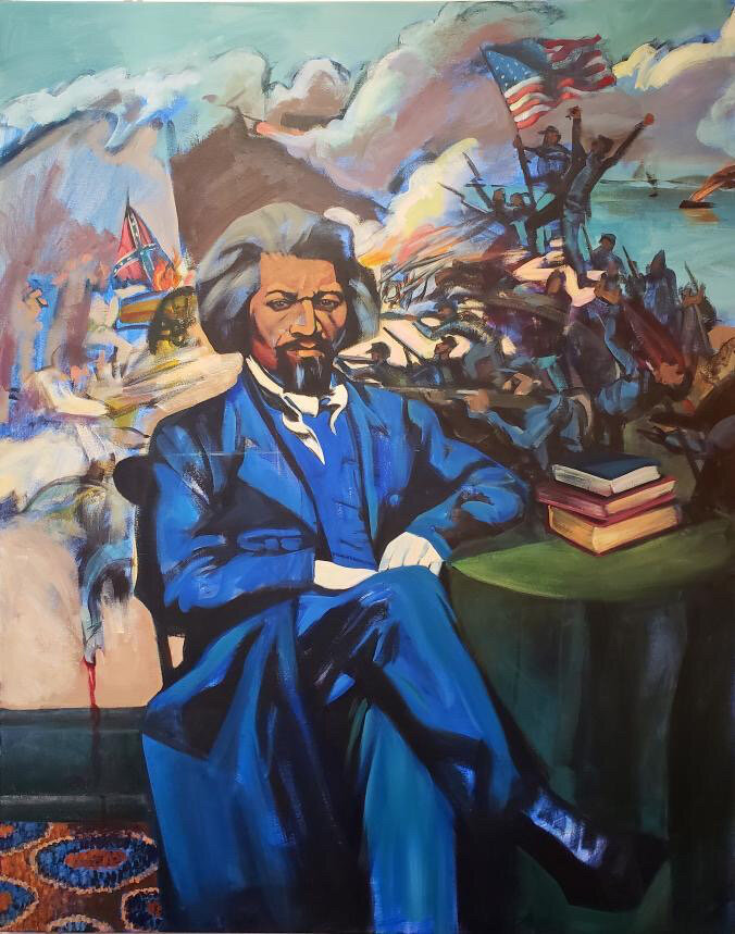 Frederick-Douglass-in-Blue-Suit-art-by-Michael-Aghahowa, A narrative of two American slaves, Behind Enemy Lines