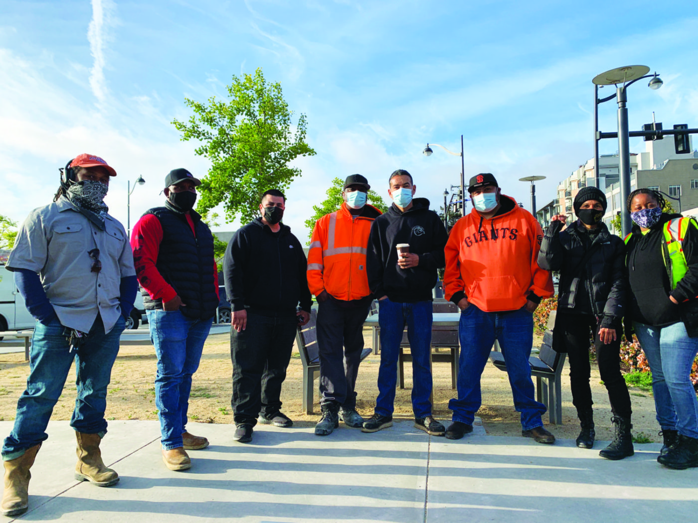 Group-photo-with-Nube-Brown-UCSF-job-site-shutdown-043021-by-Griffin-1400x1050, Black truckers shut down multi-million-dollar UCSF job site for 4.5 hours, Local News & Views