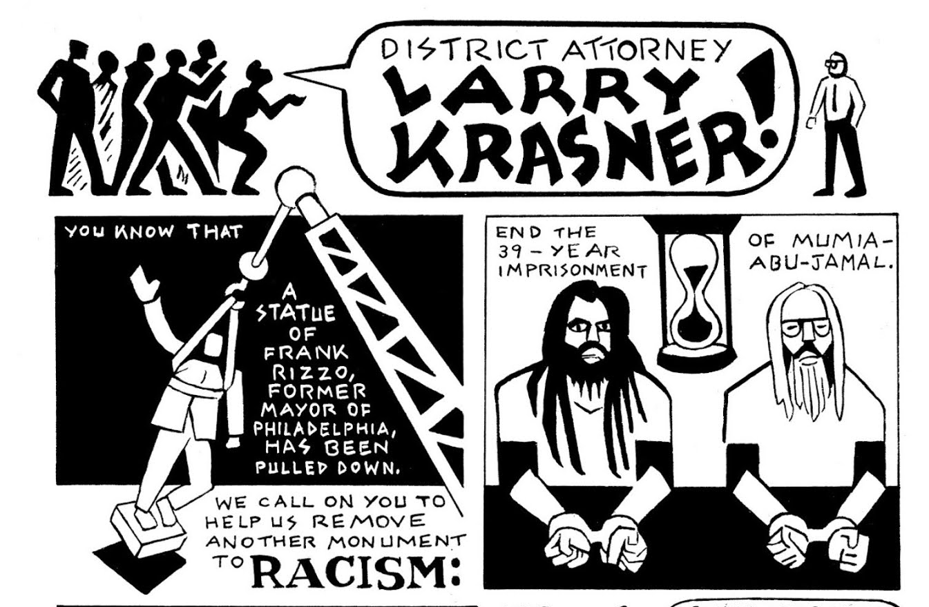 Larry-Krasner-Mumia-Abu-Jamal-decision-2021-panel-2-Seth-Tobocman-cropped-1, Mumia Abu-Jamal's spiritual advisor confronts DA Krasner and the FOP, Behind Enemy Lines