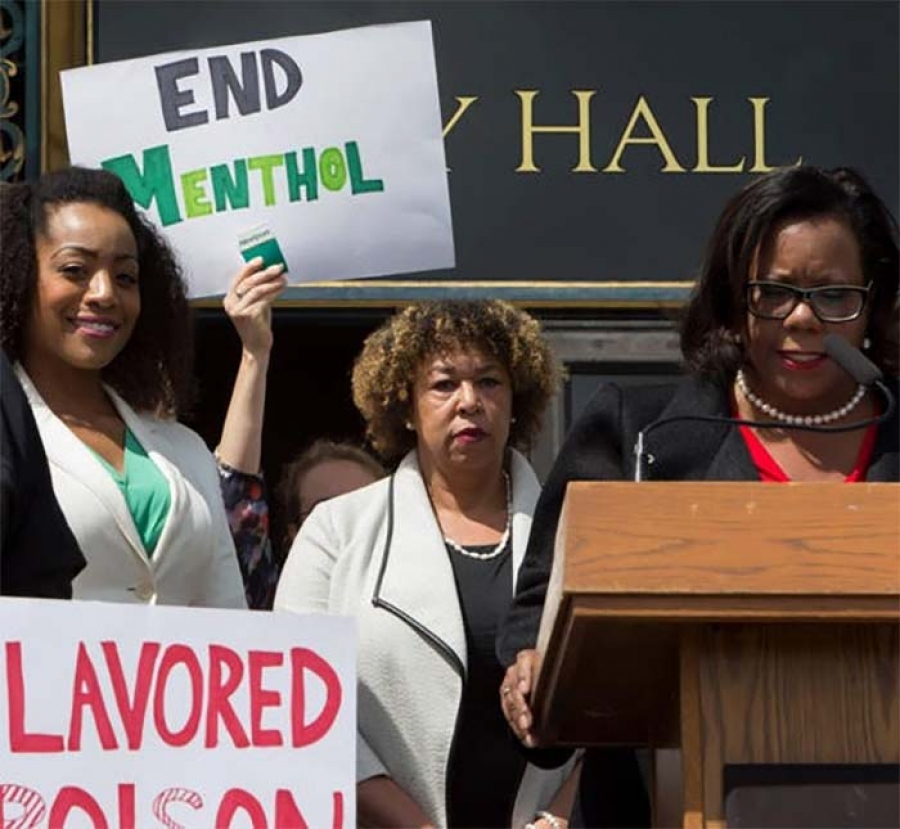 Malia-Cohen-Carol-McGruder-Valerie-Yerger-announce-menthol-ban-SF-City-Hall-041817-by-Malaika-Kambon, The national ban on Newport, Kool and other menthol 'squares' has political roots in California, Local News & Views