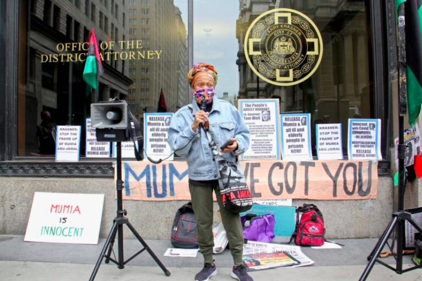 Pam-Africa-demands-Philly-DA-Larry-Krasner-release-Mumia-031221-by-Emma-Lee-WHYY, Scaling the walls: Contact visit with Mumia, Behind Enemy Lines