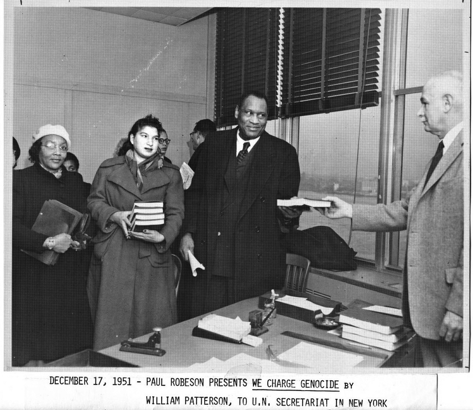 Paul-Robeson-presents-We-Charge-Genocide-by-William-Patterson-to-UN-Secretariat-NYC-121751, Liberate the Caged Voices, Behind Enemy Lines