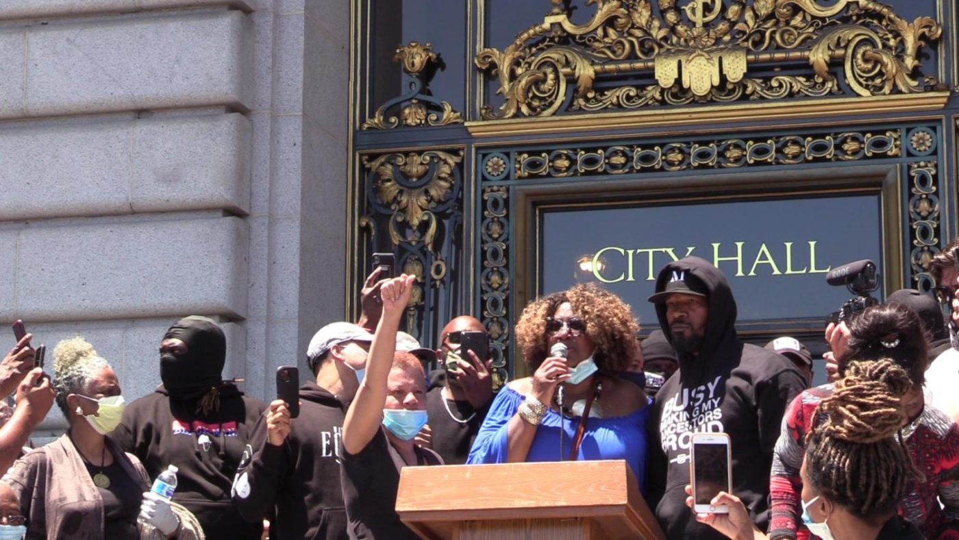 Phelicia-Jones-and-Jamie-Foxx-Wealth-and-Disparities-in-the-Black-Community-George-Floyd-event-SF-City-Hall-0620-1400x788, Juneteenth Kickoff Rally and the ongoing fight for justice for Black San Franciscans, Local News & Views