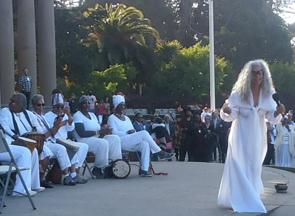 Dana-King-speaking-to-crowd-at-Monumental-Reckoning-unveiling-Golden-Gate-Park-by-Jahahara-061821, The Juneteenth Holiday and Kujichagulia, or self-determination, Culture Currents