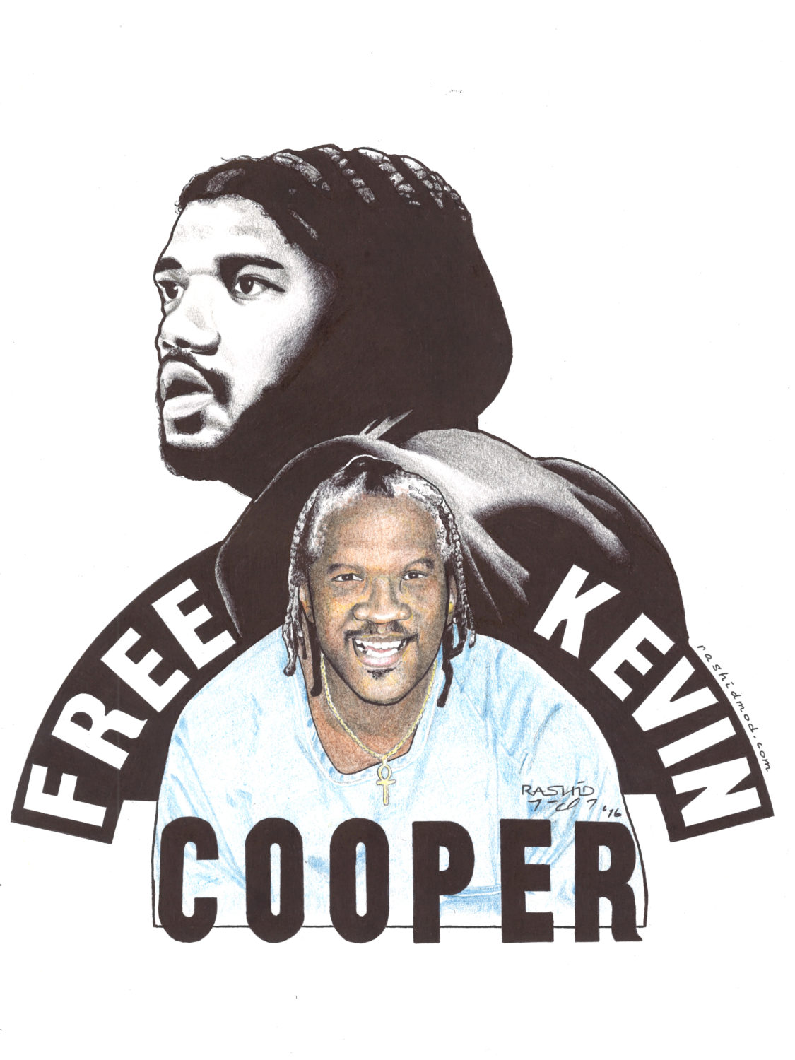 Free-Kevin-Cooper-art-by-Rashid-2016, A light at the end of the tunnel for Kevin Cooper, Behind Enemy Lines
