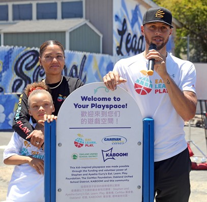 Riley-Ayesha-Stephen-Curry-at-Eat.-Learn.-Play-dedication-of-new-Franklin-Elementary-playground-061221-by-Kelly-Sullivan-Getty-Images, The Curry family helps renovate and unveil new playground at East Oakland elementary school, Local News & Views
