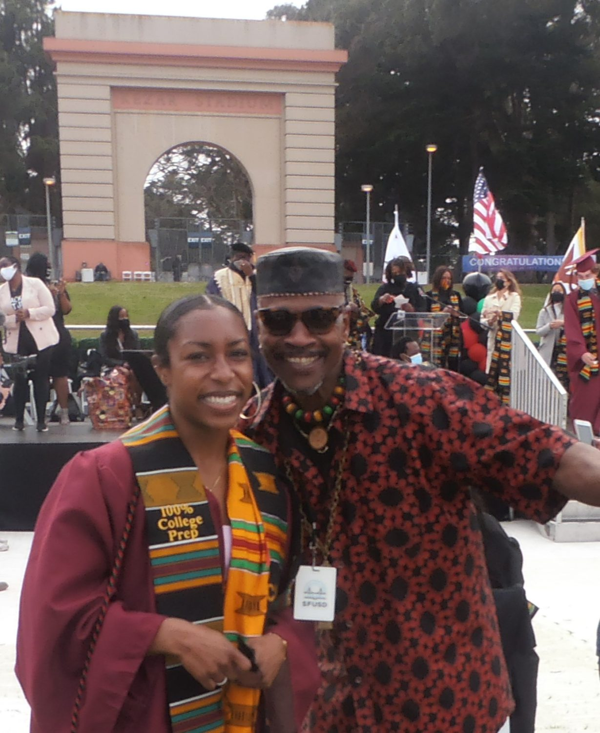 Teresa-Hinds-of-College-Prep-and-Clint-Sockwell-at-Black-Graduation-by-Jahahara-060421, The Juneteenth Holiday and Kujichagulia, or self-determination, Culture Currents