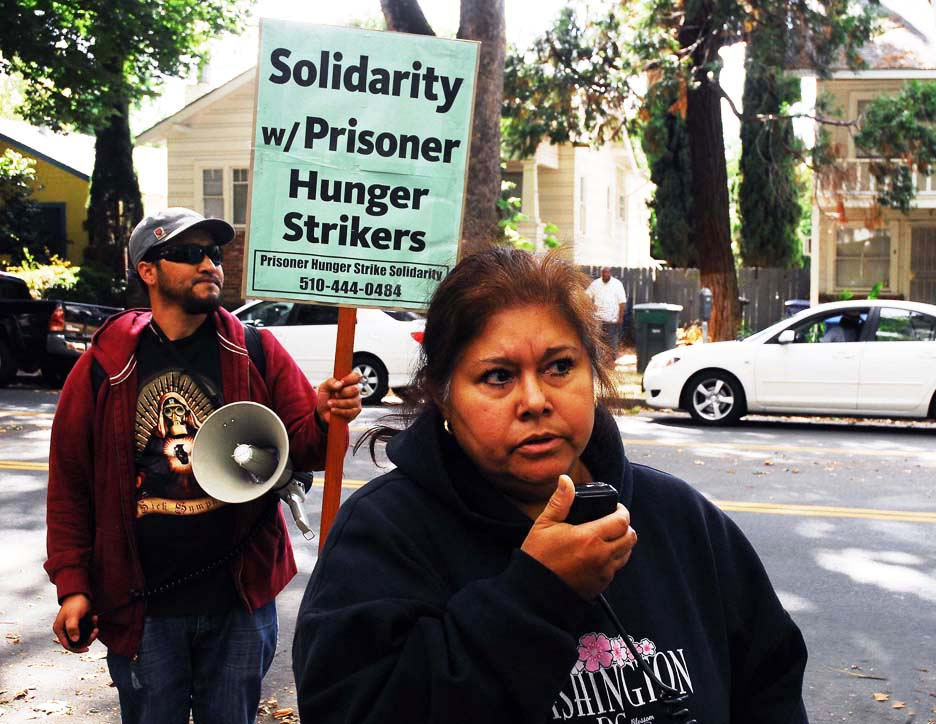 California-prisoner-hunger-strike-solidarity-rally-Irma-Hedlin-mother-of-two-hunger-strikers-at-Pelican-Bay-speaks-100511-at-CDCR-HQ-Sacramento-by-Bill-Hackwell, Decades of torture, hundreds of men, weeks of starvation – and still we aren't free!, Behind Enemy Lines
