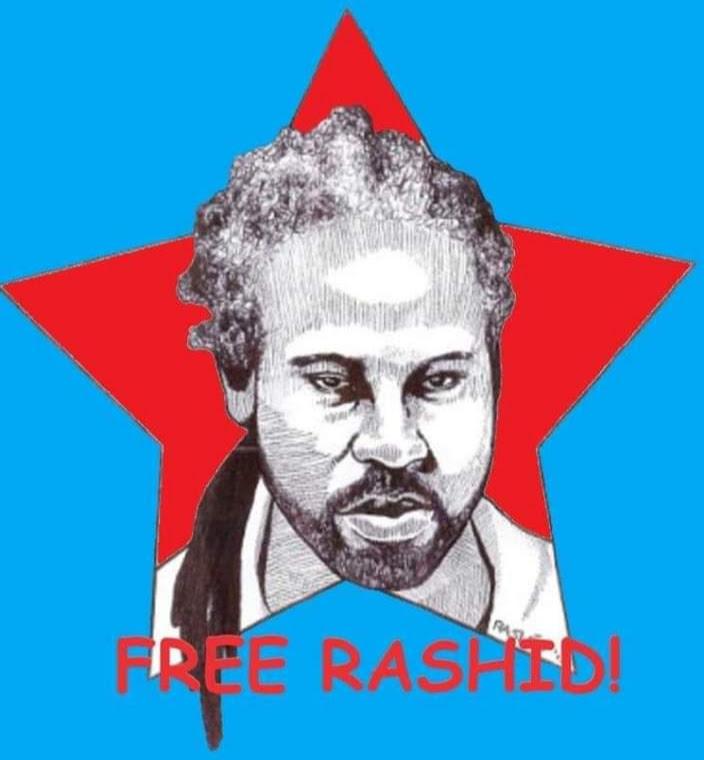 Free-Rashid-self-portrait-in-red-star, The sport of abusing prisoners in Lucasville, Ohio: Like pulling wings off flies, Behind Enemy Lines