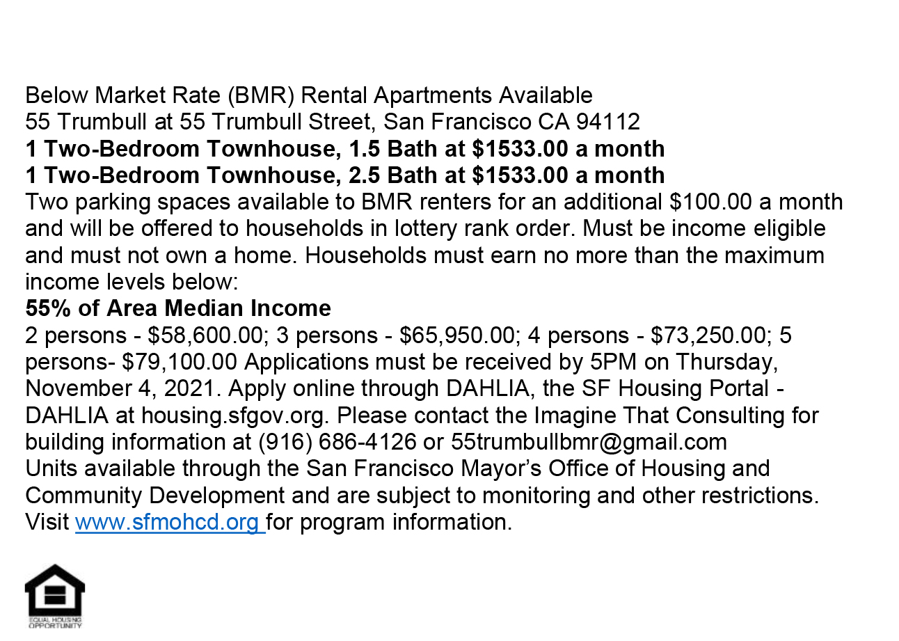 55-Trumbull-1021, Two 2-bedroom affordable apartments at 55 Trumbull, SF - apply by Nov. 4, Affordable Housing