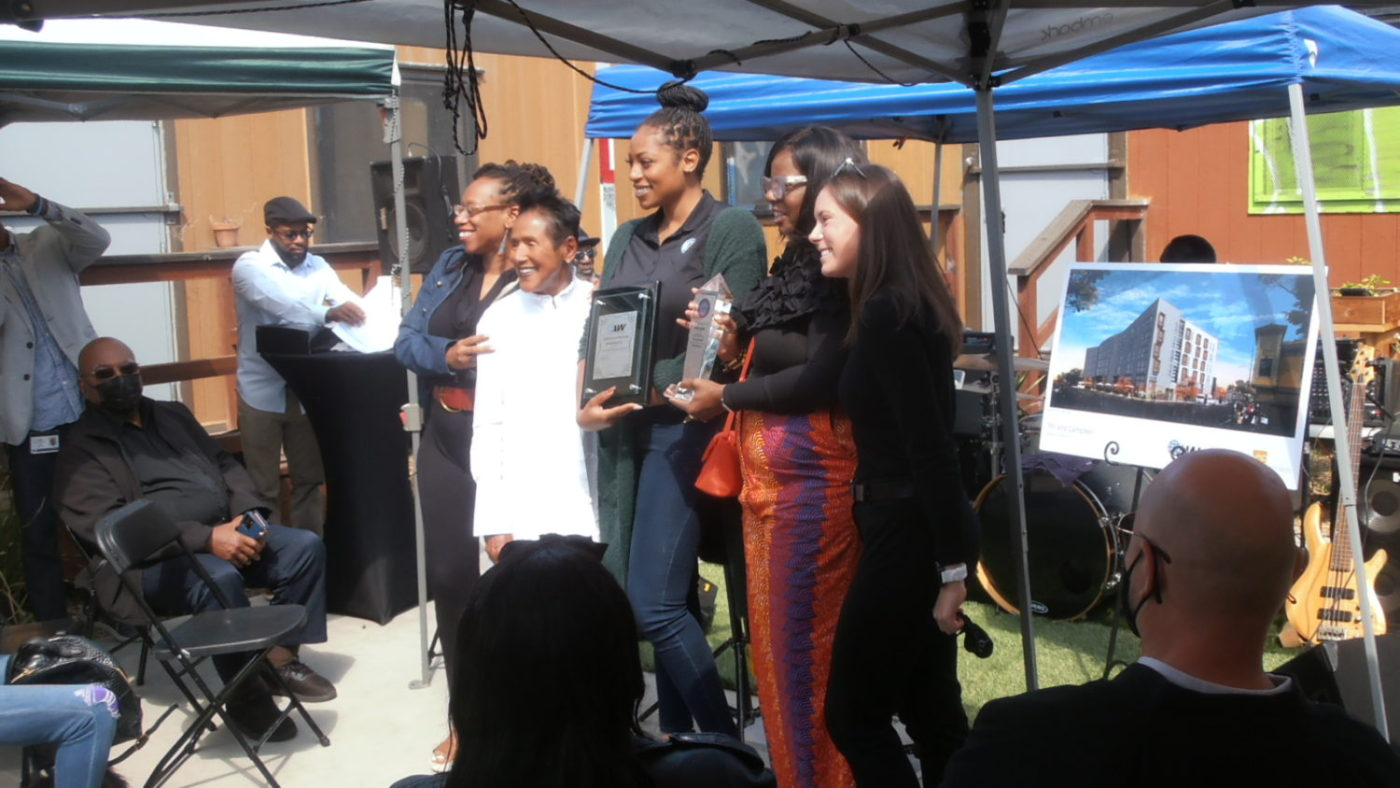 Lateefah-Simon-Elaine-Brown-two-Oakland-As-reps-flanking-Cathy-Adams-of-Oakland-Black-Chamber-supporting-Elaines-Oakland-and-the-World-Enterprises-affordable-housing-in-West-Oakland-0921-by-Jahahara-1400x788, Much respect and love to the Black Panther Party, Culture Currents