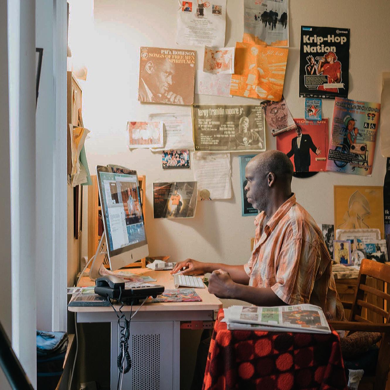 Leroy-Moore-at-computer, Leroy Moore: Dear Black community, Culture Currents