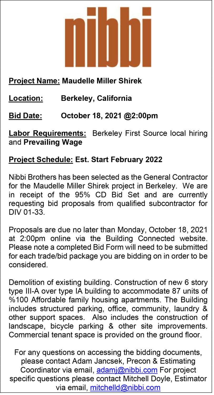 Nibbi-ITB-1021, Nibbi invites subcontract bids for Maudelle Miller Shirek affordable housing building - Bid date Oct. 18, Invitations to Bid