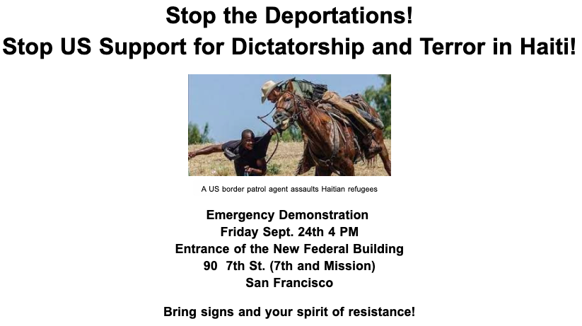 Stop-the-Deportations-flier-for-rally-092421-by-Haiti-Action-Committee, Haitian refugee crisis made in the USA, border patrol agents whip migrants, World News & Views