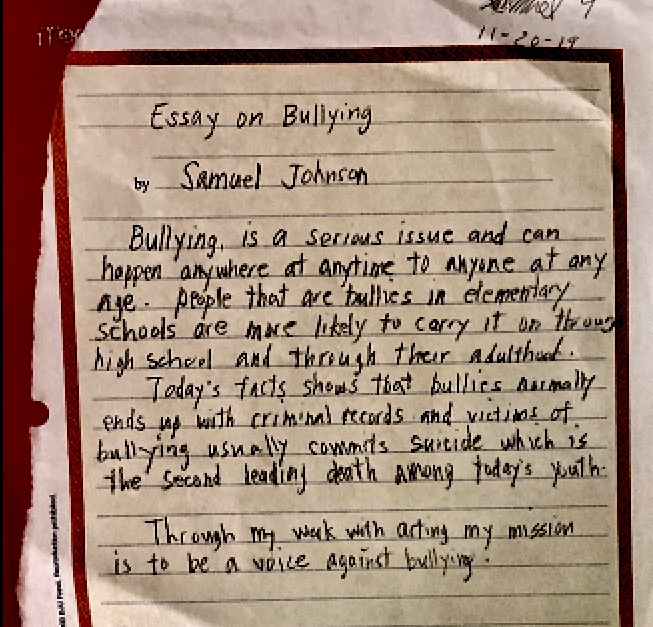 Essay-on-Bullying-by-Sam-Johnson, Sam: Samuel-Ace Ieremia Johnson – Forever in our hearts, Culture Currents
