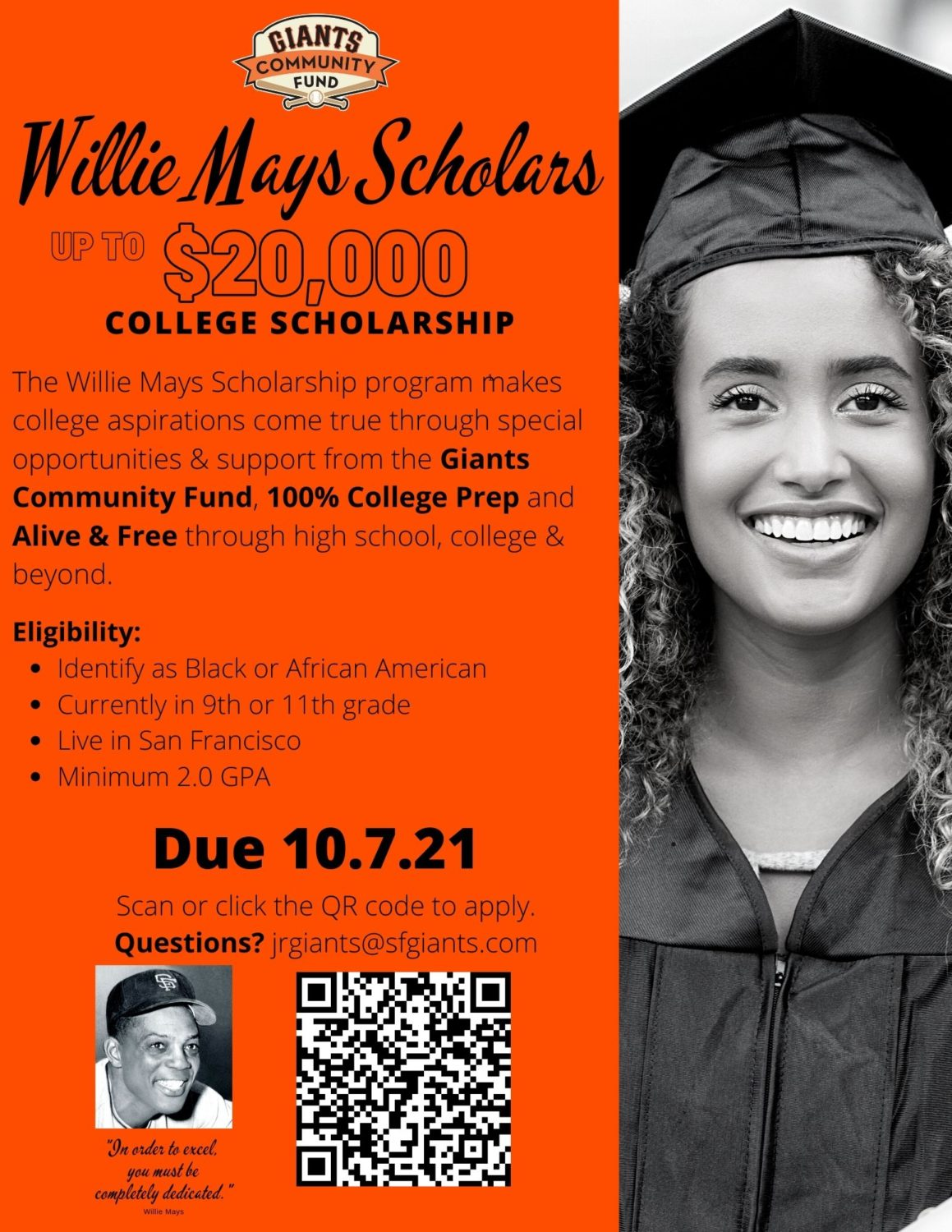 Willie-Mays-Scholarship-2021-with-SF-Giants, Daphne Young's eye on education: 'What's going on?', Local News & Views